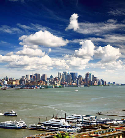hudson river: The Lower Manhattan Skyline viewed from New Jersey side