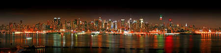 The panorama view of Manhattan skyline at Christmas Eve, New York City  photo