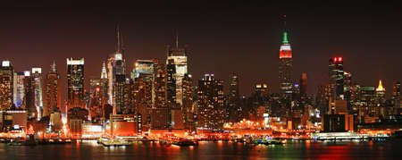 The panorama view of Manhattan skyline at Christmas Eve, New York City