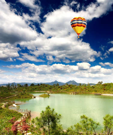 A scenery park near Lijiang China, named as a World Cultural Heritages by UNESCO in 1997.   photo