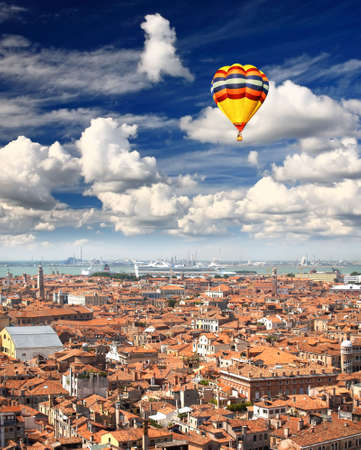 The aerial view of Venice city, Italy    photo