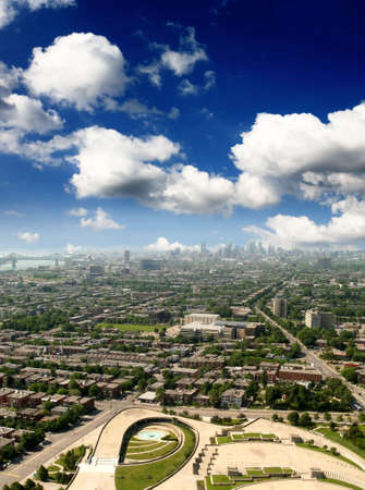The aerial view of Olympic stadium and Montreal City  photo