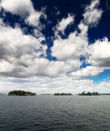 lawrence: The scenary of thousand Islands on Saint Lawrence River between US and Canada      Stock Photo