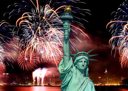 The Statue of Liberty and 4th of July fireworks in NYC Stock Photo