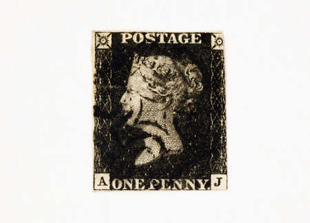 postage stamp: Penny Balck - The first adhesive postage stamp in the world issued by the UK on 1 May 1840.