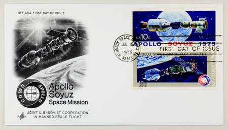 The first day issue of apollo soyuz stamp   Stock Photo