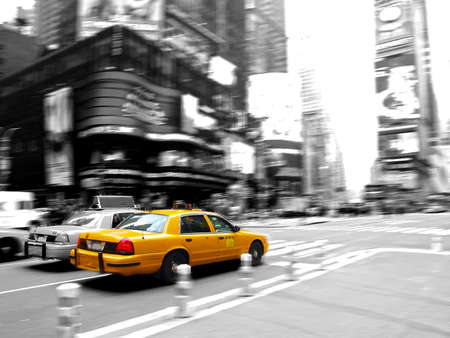 black cab: Taxi at times square in New York City