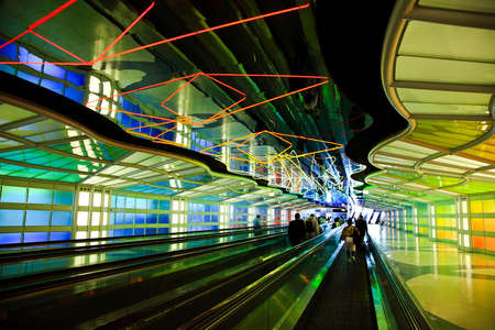 concourse: the neon lights in a corridor of a major international airport  Editorial