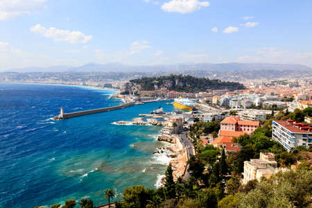 aerial view of the city of Nice and the harbor