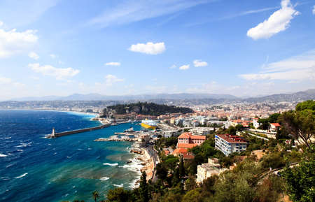 nice  france: aerial view of the city of Nice and the harbor
