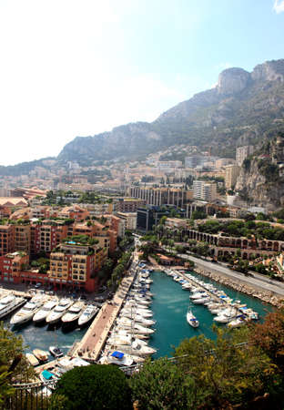 aerial view of the high-rise apartment complex and marina in Monaco photo