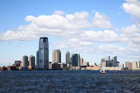 skylines: The Jersey City Skylines by Hudson River Stock Photo