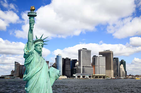 hudson river: The Statue of Liberty and Lower Manhattan Skylines New York City    Stock Photo