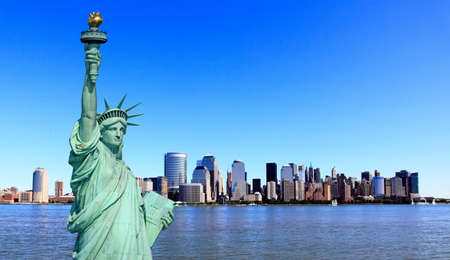 skylines: The Statue of Liberty and Lower Manhattan Skylines New York City    Stock Photo