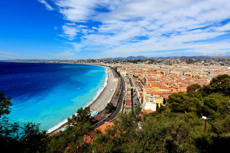 aerial view of beach in Nice France Фото со стока
