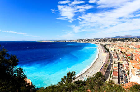 aerial view of beach in Nice France Banco de Imagens
