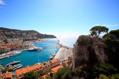 contrasted: aerial view of the city of Nice and the harbor