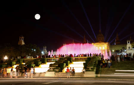 The famous Montjuic Fountain in Barcelona Spain