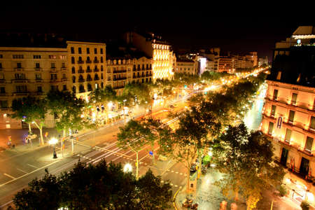 Barcelona main commercial street and city view Banco de Imagens