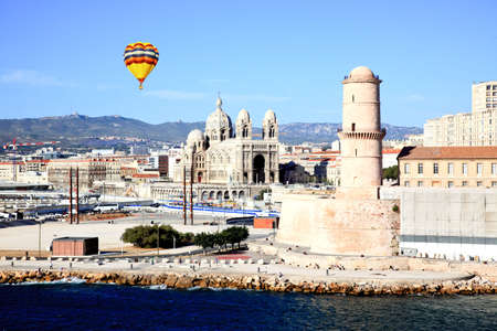The Cathedral near harbor of Marseille City, France photo