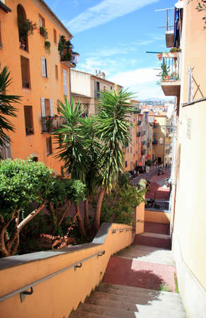 A narrow street  of the Nice old town France photo