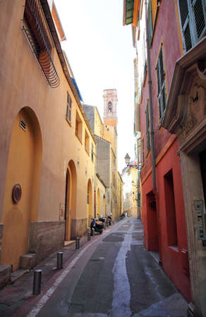 contrasted: A narrow street  of the Nice old town France