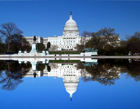 The Capitol building in Washington D.C with a symmetric reflection