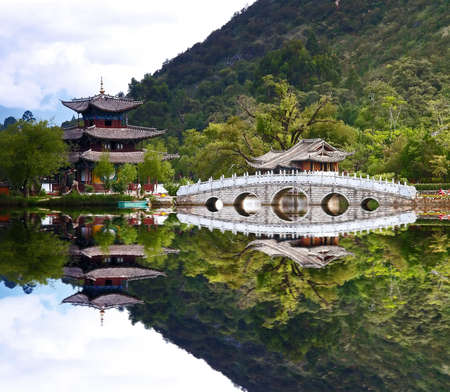 yunnan: A scenery park near Lijiang China, named as a World Cultural Heritages by UNESCO in 1997.   Stock Photo