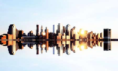 skylines: Lower Manhattan skylines at sunset in USA