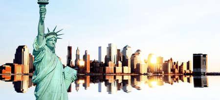 Lower Manhattan skylines at sunset in USA photo
