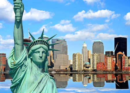 statue of liberty: Lower Manhattan skylines in New York City USA Stock Photo