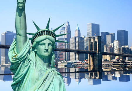 liberty: Lower Manhattan skylines in New York City USA Stock Photo