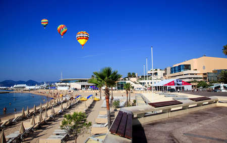 The scenery of beach in Cannes France