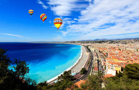 nice weather: aerial view of beach in Nice France Stock Photo