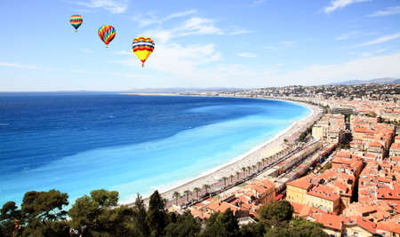 aerial view of the Nice old town France Stock Photo