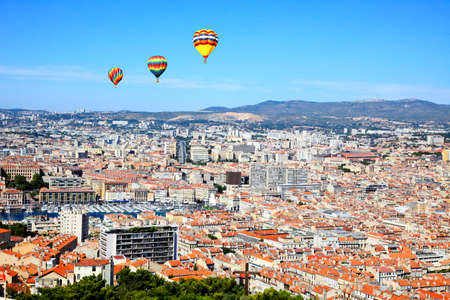 an aerial view of Marseille City and its harbor France      photo