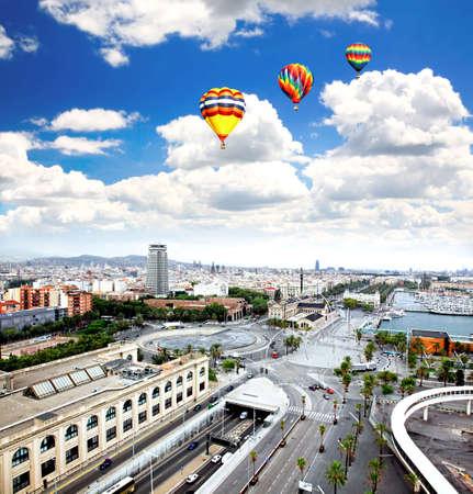 スペイン バルセロナ市の航空写真 写真素材