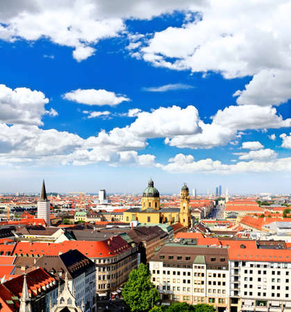 The aerial view of Munich city center from the tower of the Peterskirche