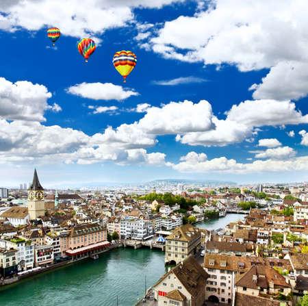 the aerial view of Zurich City Switzerland photo