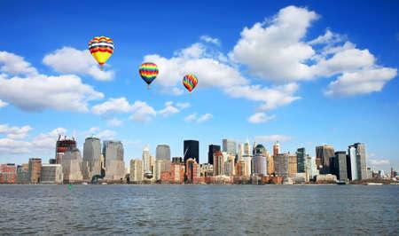 The Lower Manhattan Skyline viewed from Liberty Park New Jersey 免版税图像