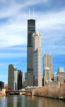 The high-rise buildings in the downtown Chicago photo