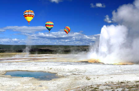 The scenery of Lower Geyser Basin in Yellowstone National Park  Imagens
