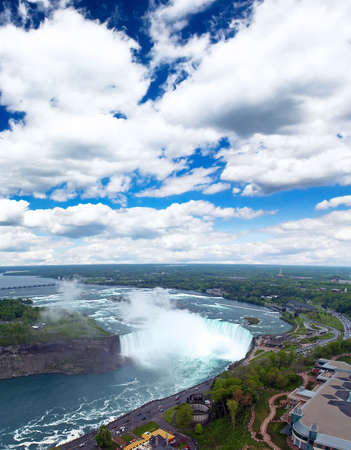 An aerial view of the Niagara Falls between US and Canada  photo