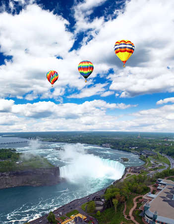 An aerial view of the Niagara Falls between US and Canada  Stock Photo