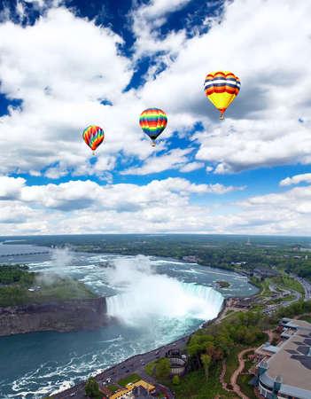 horseshoe falls:  An aerial view of the Niagara Falls between US and Canada  Stock Photo