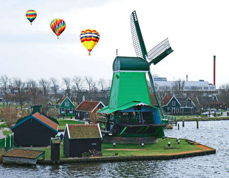 The historical windmill in the Dutch countryside photo