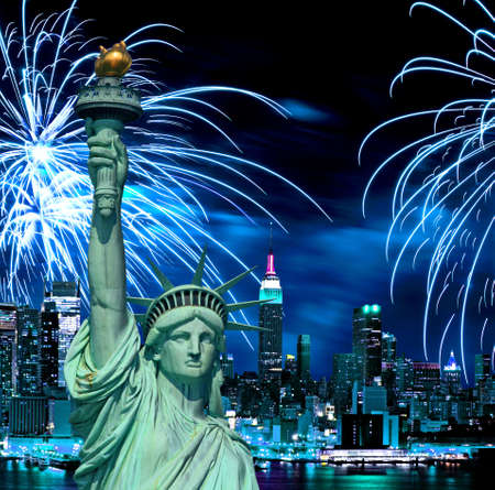 The Statue of Liberty and holiday fireworks photo