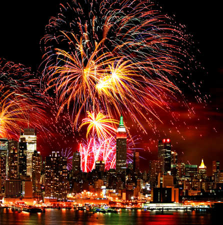 The New York City skyline and holiday fireworks Stock Photo