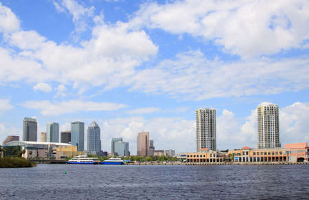 tampa bay: The city skyline of Tampa Florida on a cloudy day