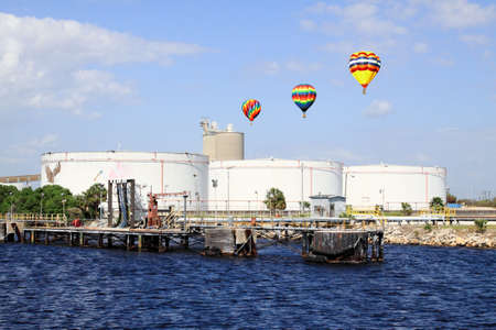 oil tanks in the port of Tampa Florida on a cloudy day      photo